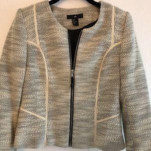 H&M white tweed short blazer